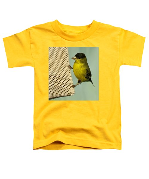 Male Goldfinch On Sock Feeder Toddler T-Shirt