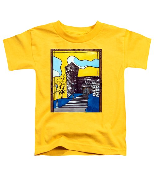 Toddler T-Shirt featuring the painting Medieval Bastion -  Mace Tower Of Buda Castle Hungary By Dora Hathazi Mendes by Dora Hathazi Mendes