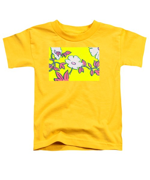 Purple Pointed Petals And Bright White Flowers Against Yellow Toddler T-Shirt