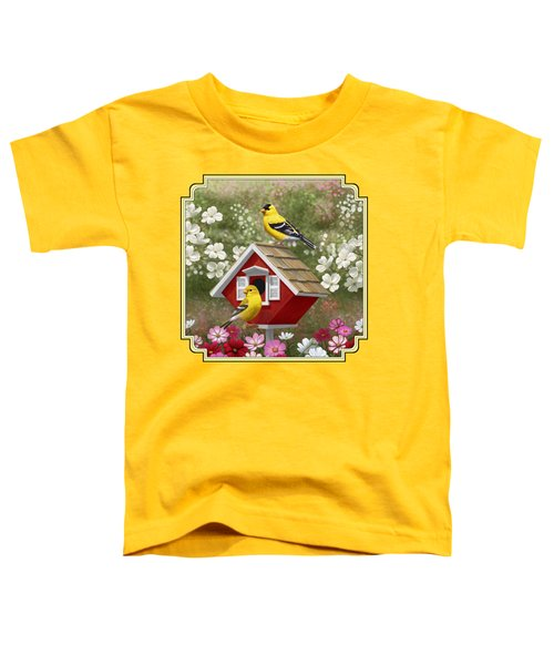 Red Birdhouse And Goldfinches Toddler T-Shirt by Crista Forest