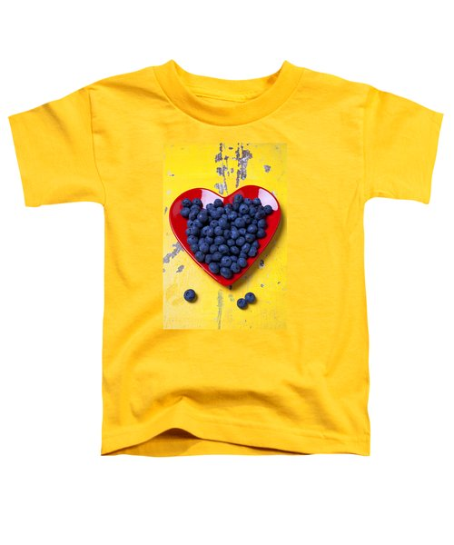 Red Heart Plate With Blueberries Toddler T-Shirt
