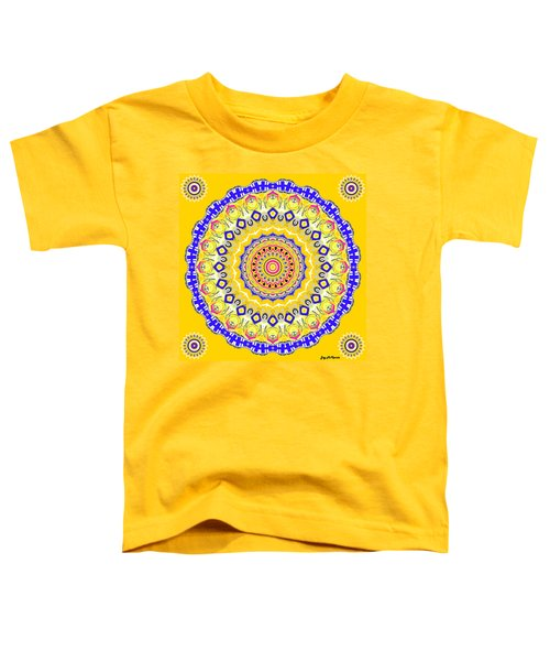 Toddler T-Shirt featuring the digital art Sunshine And Blue Skies Mandala by Joy McKenzie