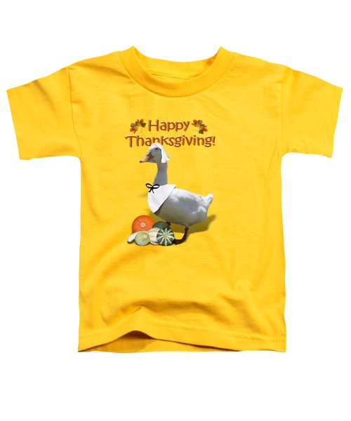 Thanksgiving Pilgrim Duck Toddler T-Shirt by Gravityx9  Designs