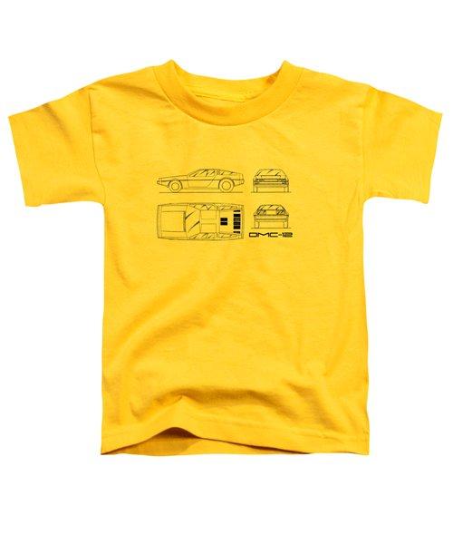The Delorean Dmc-12 Blueprint - White Toddler T-Shirt by Mark Rogan