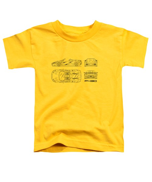 The F430 Blueprint - White Toddler T-Shirt by Mark Rogan
