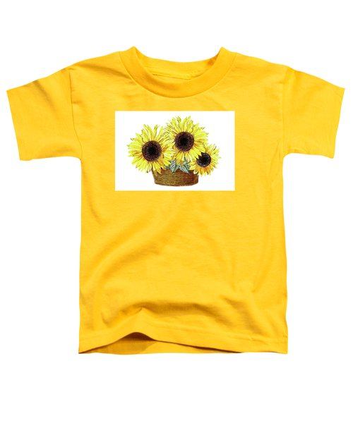 Three Sunflowers In The Basket Toddler T-Shirt