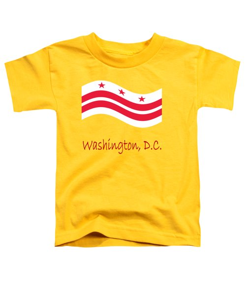 Waving District Of Columbia Flag And Name Toddler T-Shirt