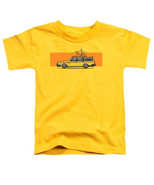 Yellow Volvo 245 Wagon With Roof Rack And Vintage Bicycle Toddler T-Shirt