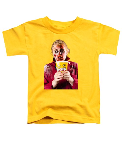 Zombie Woman Watching Scary Movie With Popcorn Toddler T-Shirt