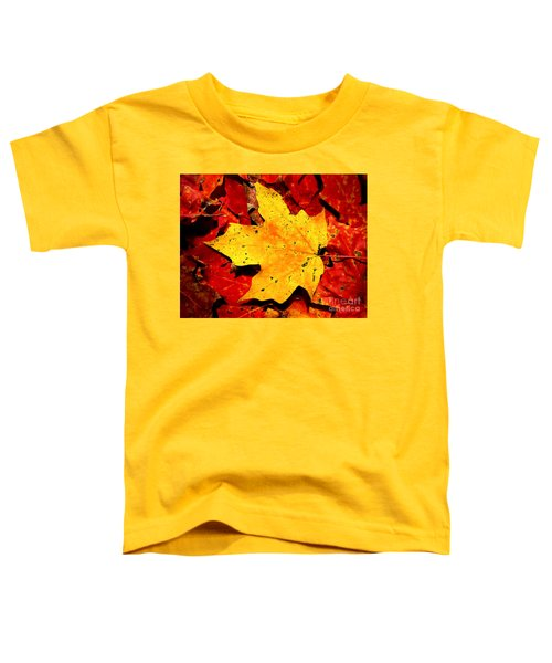 Autumn Beige Yellow Leaf On Red Leaves Toddler T-Shirt