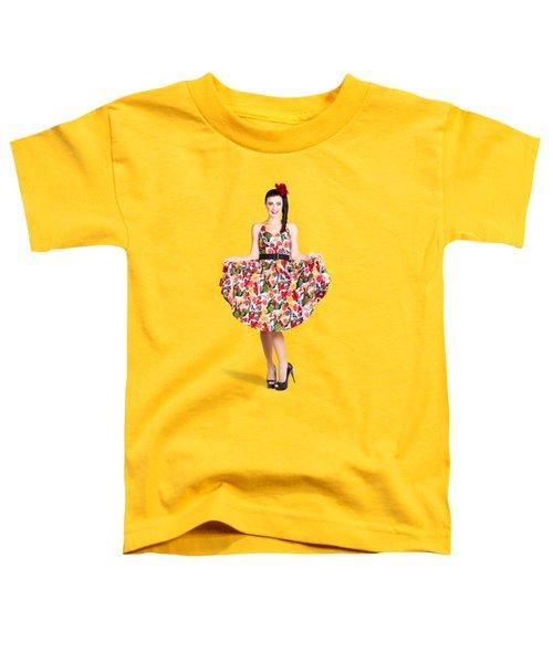 Beautiful Dancing Woman In Retro Red Dress Toddler T-Shirt