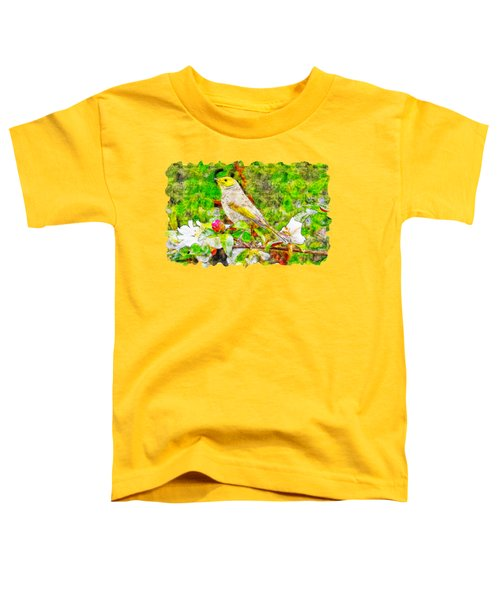 Bird Above The Branch Watercolor Drawing  Toddler T-Shirt