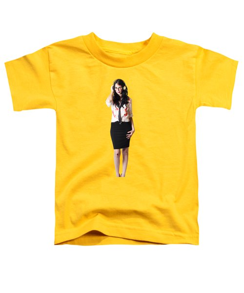 Creepy Female Zombie With Headphones Toddler T-Shirt