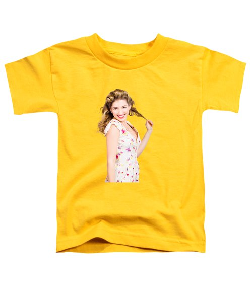 Female Model With Perfect Skin And Curly Hairstyle Toddler T-Shirt