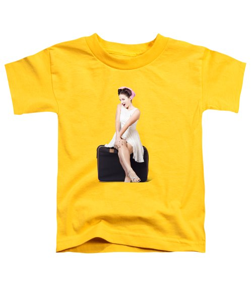 Female Pinup Travelling Tourist Sitting On Luggage Toddler T-Shirt
