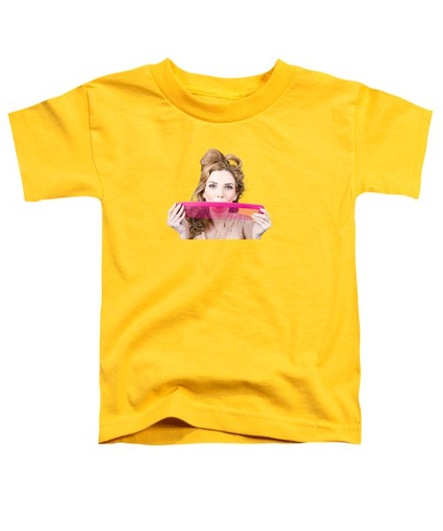 Happy Hairstyle Pinup Woman Smiling With Hair Comb Toddler T-Shirt