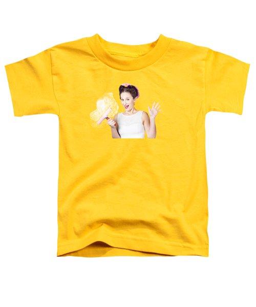 Hysterical Pin-up Woman Washing Windows On Yellow Toddler T-Shirt