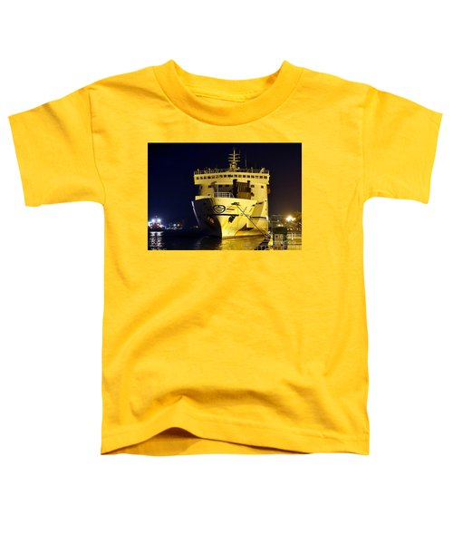 Large Ferry Docked In Port By Night Toddler T-Shirt