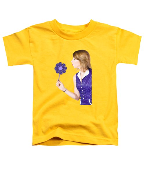 Pretty Pin Up Girl Playing With Purple Pinwheel Toddler T-Shirt