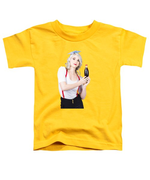 Retro Blond Woman With A Bottle Of Soda Toddler T-Shirt