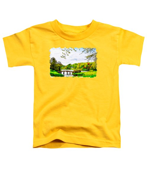 Stourhead Bridge Watercolor Drawing Toddler T-Shirt
