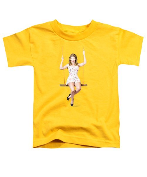 Swing Pinup Girl With Beauty Make-up And Hairstyle Toddler T-Shirt