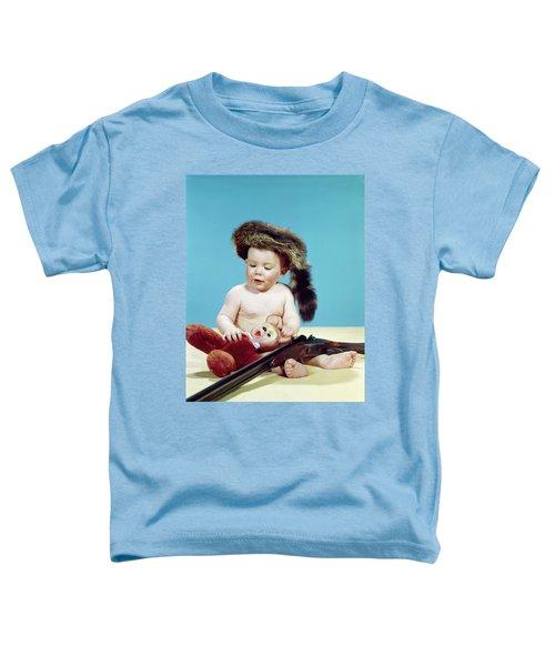 1960s Baby Boy Wearing Coonskin Cap Toddler T-Shirt