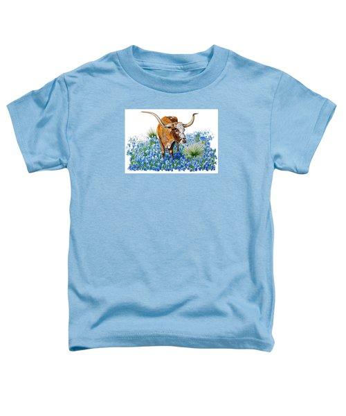 Da102 Longhorn And Bluebonnets Daniel Adams Toddler T-Shirt