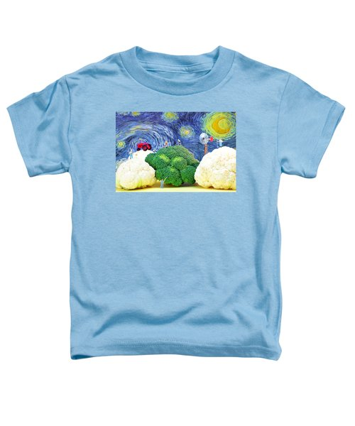 Farming On Broccoli And Cauliflower Under Starry Night Toddler T-Shirt by Paul Ge