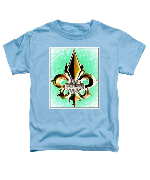 Fleurs De Lys And Harley Davidson Logo Bronze Green Toddler T-Shirt