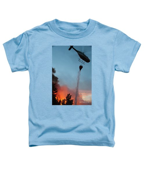 Helicopter Drops Water On White Draw Fire Toddler T-Shirt