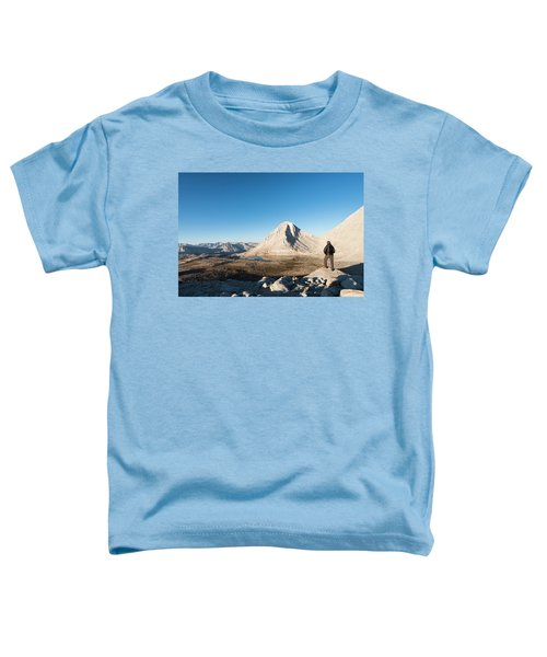 Hiker Looking Over Royce Lakes Toddler T-Shirt