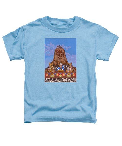 Toddler T-Shirt featuring the painting Legend Of Bear's Tipi by Chholing Taha