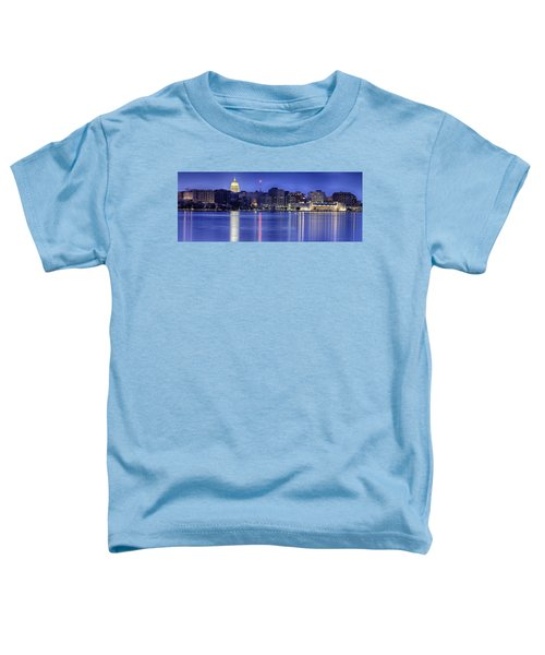 Toddler T-Shirt featuring the photograph Madison Skyline Reflection by Sebastian Musial