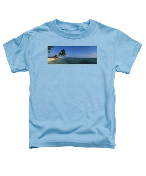 Palm Tree Overhanging On The Beach Toddler T-Shirt