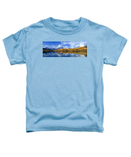 Panorama Fall Morning At Oxbow Bend Grand Tetons National Park Toddler T-Shirt