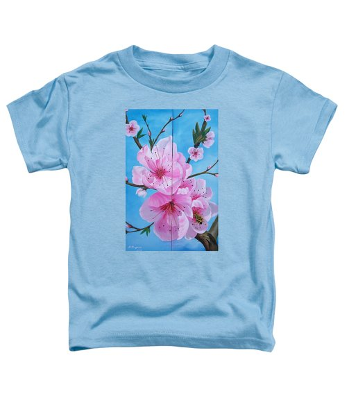 Peach Tree In Bloom Diptych Toddler T-Shirt