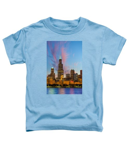 Toddler T-Shirt featuring the photograph Sears Tower Sunset by Sebastian Musial