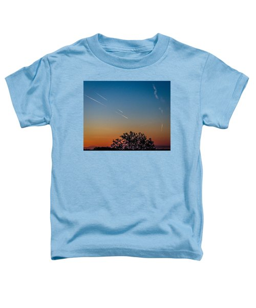 Toddler T-Shirt featuring the photograph Squadron Of Jet Trails Over Ireland by James Truett