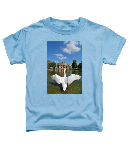 Swan Spreads Wings In Front Of State Theatre Stuttgart Germany Toddler T-Shirt