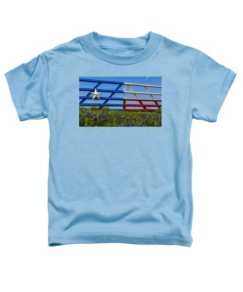 Texas Flag Painted Gate With Blue Bonnets Toddler T-Shirt