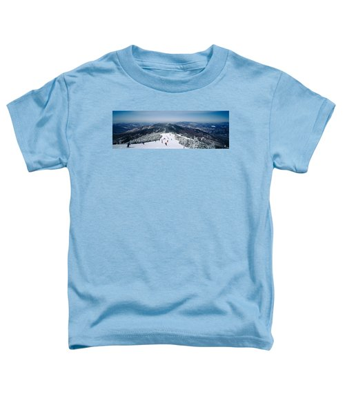 Aerial View Of A Group Of People Skiing Toddler T-Shirt