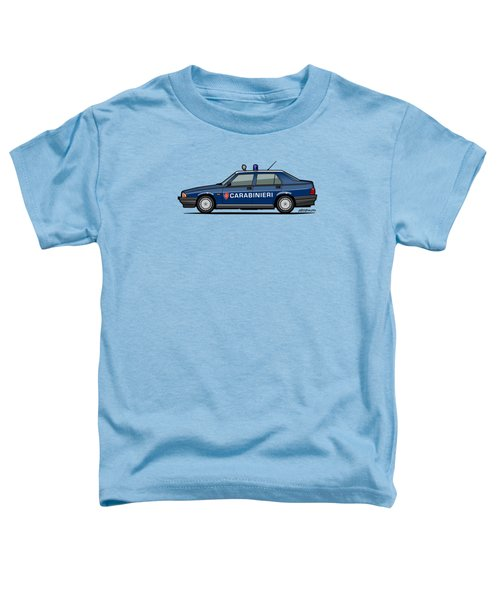 Alfa Romeo 75 Tipo 161, 162b Milano Carabinieri Italian Police Car Toddler T-Shirt by Monkey Crisis On Mars