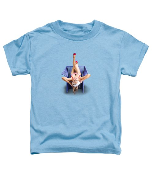 Toddler T-Shirt featuring the photograph American Pinup Woman Upside Down On Cane Chair by Jorgo Photography - Wall Art Gallery