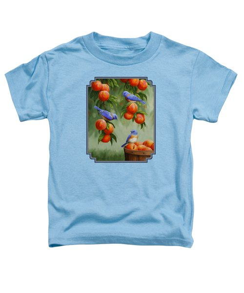Bird Painting - Bluebirds And Peaches Toddler T-Shirt by Crista Forest