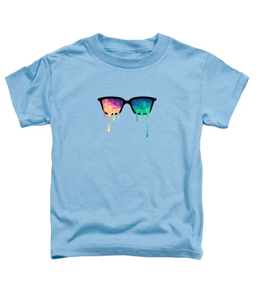 Psychedelic Nerd Glasses With Melting Lsd Trippy Color Triangles Toddler T-Shirt by Philipp Rietz