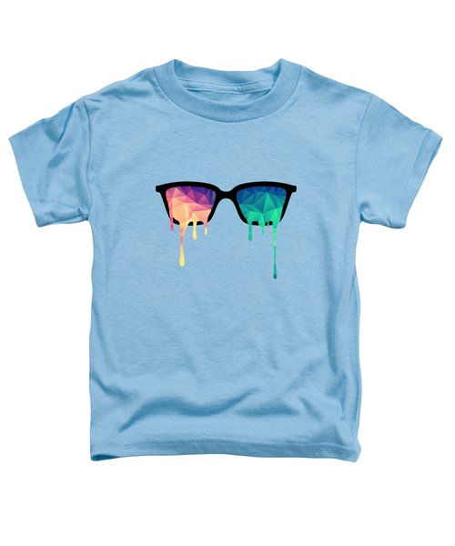 Psychedelic Nerd Glasses With Melting Lsd Trippy Color Triangles Toddler T-Shirt
