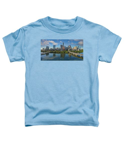 Austin Skyline Panorama Spring Afternoon 7-1 Toddler T-Shirt by Rob Greebon