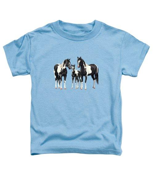 Black Paint Horses In Winter Pasture Toddler T-Shirt
