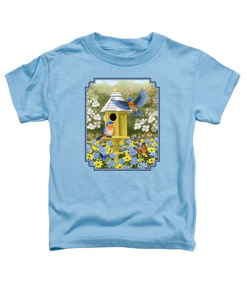 Bluebird Garden Home Toddler T-Shirt by Crista Forest